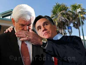 Romney consoling Gingrich parody