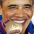 Obama biting the POTUS gold medal