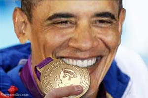 Obama biting gold POTUS medal