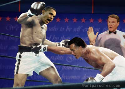 Romney hits Obama with a right to the belly